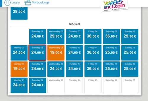 Calendario Mejor Precio TGV